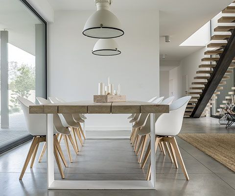An open plan interior designed dining space.
