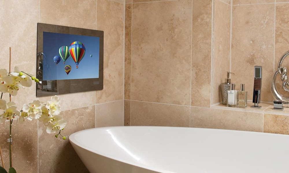Bathroom renovation watching a TV in your bath.