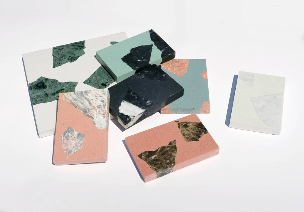 Alt Rock terrazzo style recycled worktops for bathrooms and kitchens