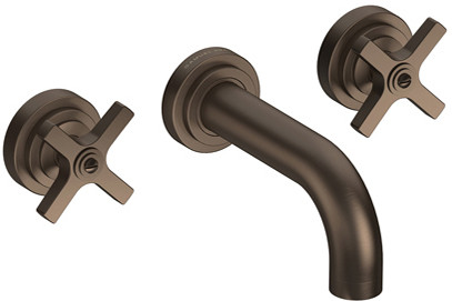 Wall mounted bath taps in bronze