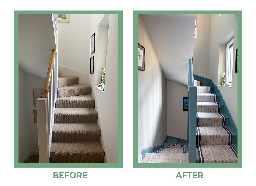 Farrow and Ball Inchyra Blue to woodwork and staircases.