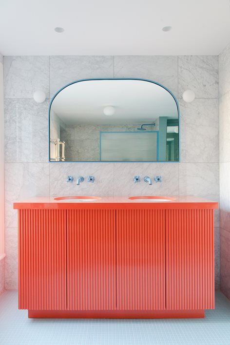Bright colours used bathrooms