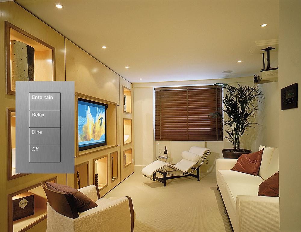 Lutron lighting systems for a bathroom design.