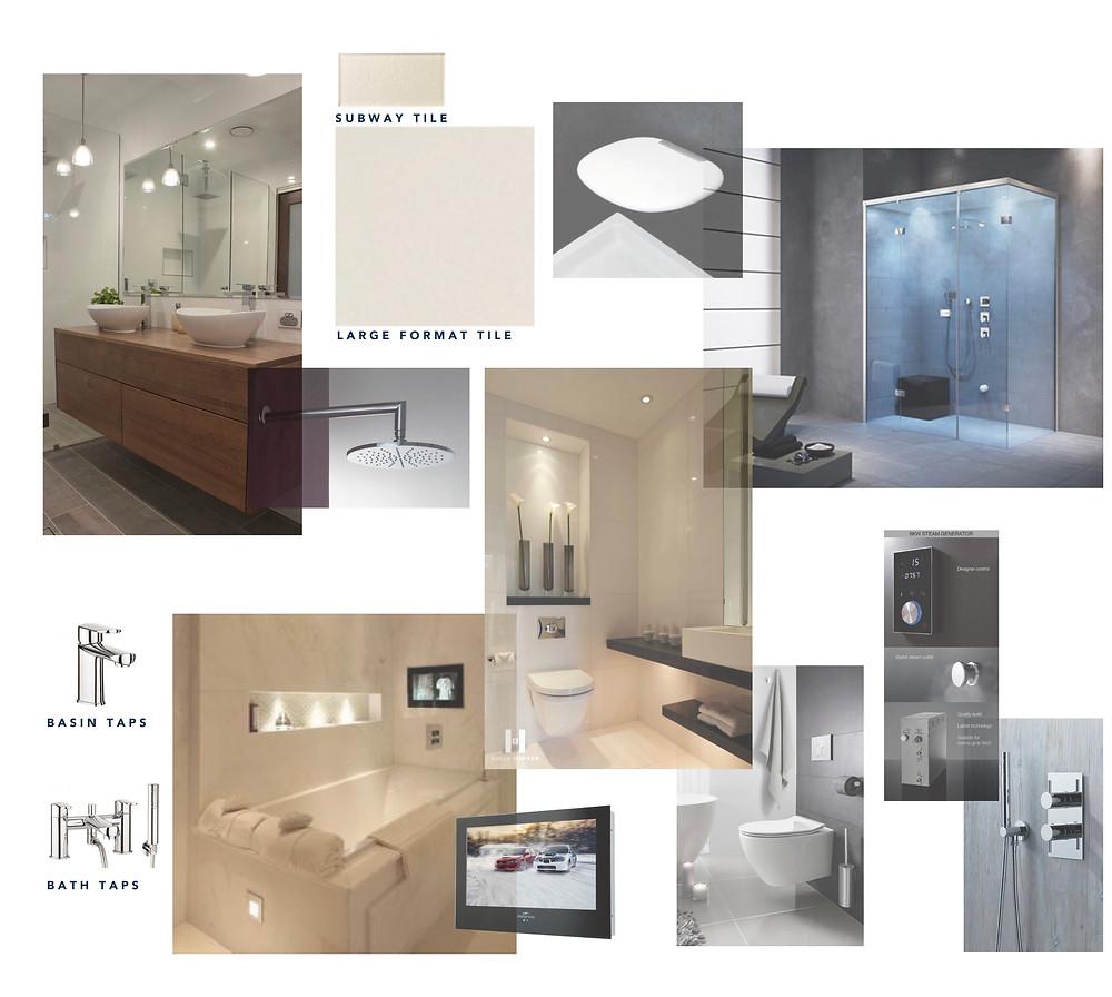 Mood board for a bathroom interior design