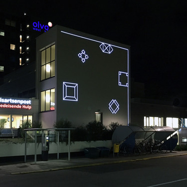 OLVG West, Amsterdam, NL, 2016, Aam Solleveld. Light Art, Abstract Light Mural. Black and White, Graphic