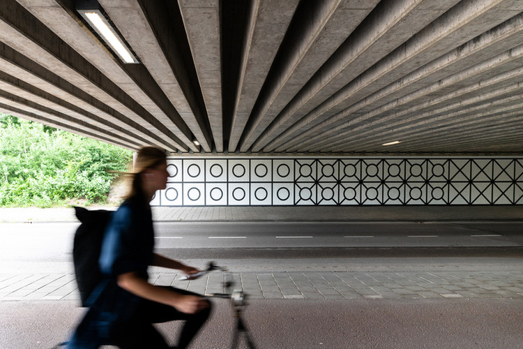 A10West Tunnel, Amsterdam 2020, with passerby on bicycle