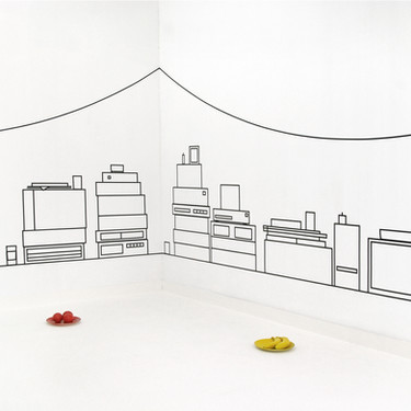Valse Wand, Voorkamer, Lier, BE, 2007, Aam Solleveld, Tape, paper, objects, paint