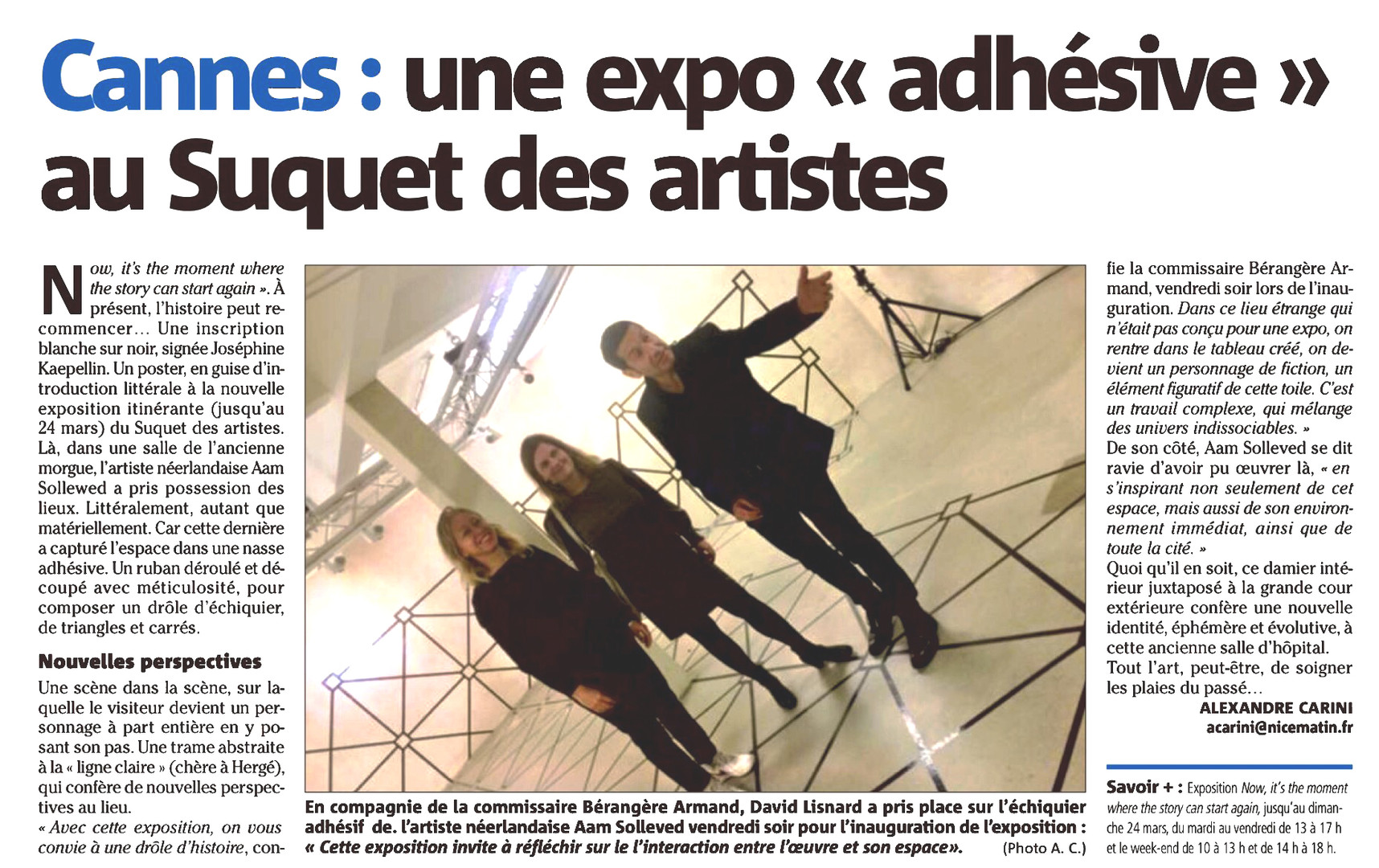 Newspaper Nice-Matin 030219 Expo Now Suquet Artist Aam Solleveld