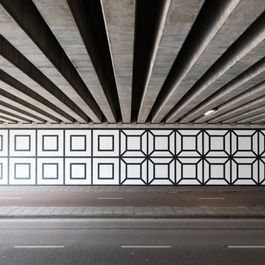 Tunnel A10 West, Amsterdam, Artwork on the walls of the tunnel by Aam Solleveld, 2020