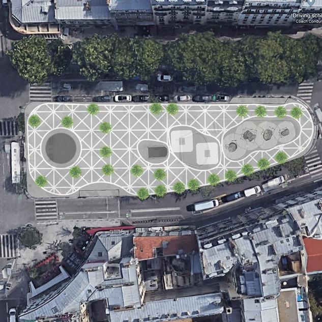 Place Jean Ferrat, Paris, 2019-2020 Paris Embellir Aam Solleveld Pattern that contains all the elements of the Square