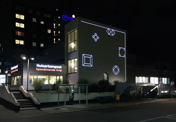 OLVG West, hospital, lightmural by Aam Solleveld