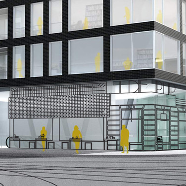 Noord/Zuidlijn, Amsterdam, NL, 2013, Aam Solleveld Sketches for two entrances of station 'de Pijp' at street level. An open steel frame to keep the entrance transparent and to allow daylight to enter the station. And a design for a 200 meter long wall in the station below street level on glass panels. Design was favorite of the public.
