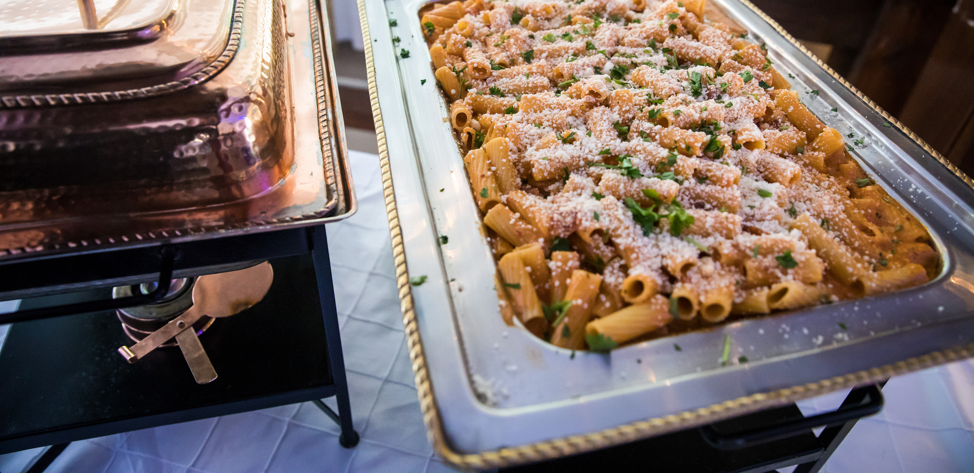 Hamilton Manor Barn Outdoor Cocktail Hour Pasta Display