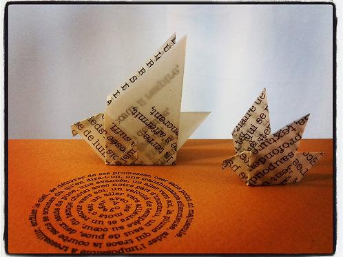 Carte Oiseau de mots, cadre cartonné blanc, noir, kraft