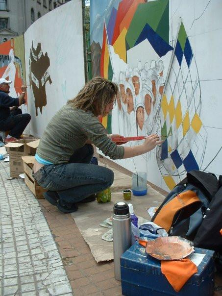 Mural en plaza de Mayo