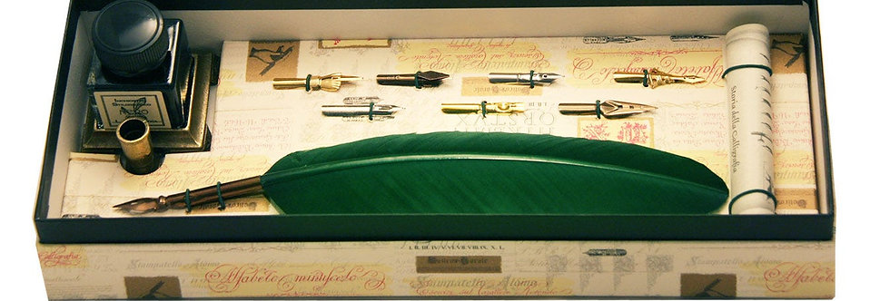 Feather Quill, 7 nibs, Ink, Holder & Calligraphy Booklet