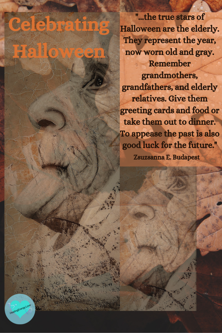 face of old woman and leaves with Halloween quote