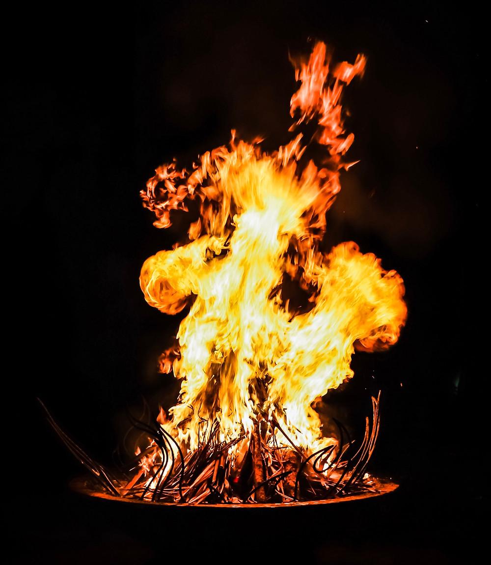 Bonfire flames at night