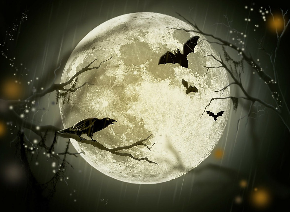 Silhouette of raven and bats in front of full moon