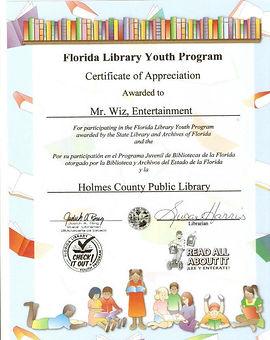 bonifay libary magic show certificate of appreciation to mr wiz the magician