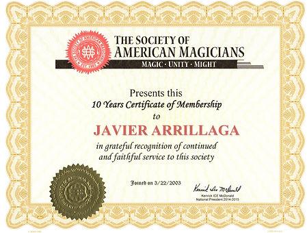 society of american magicians 10 year certificate of membership to javier arrillaga mr wiz the magic