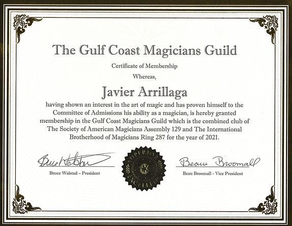 the gulf coast magicians guild membership certificate 2021 javier arrillaga mr wiz the magician