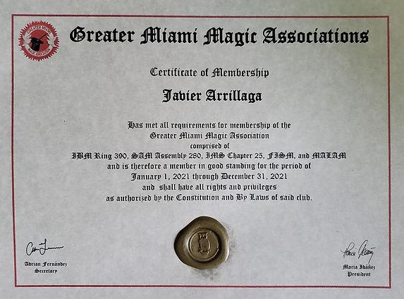 Certificate of Membership Greater Miami Magic Associations Javier Arrillaga Mr Wiz the Magician