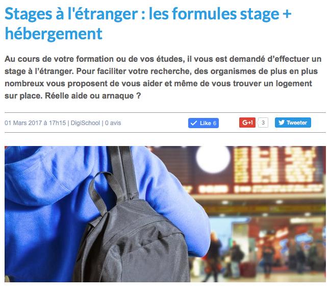 Digischool : Stage à l'étranger et hébergement