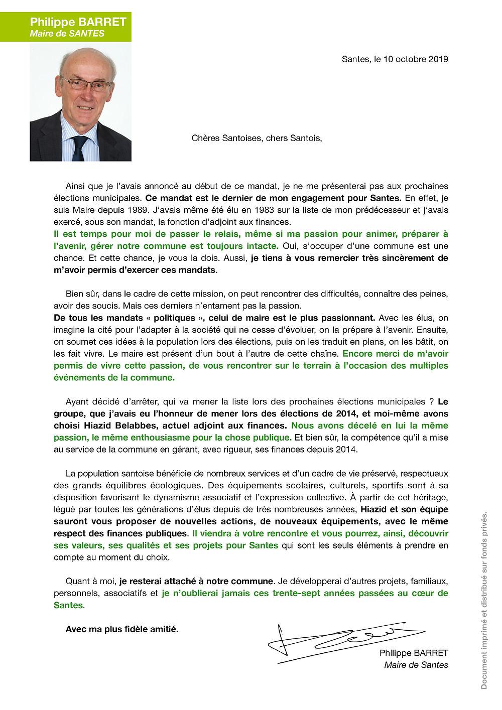 Lettre de Philippe BARRET, Maire de Santes, à la population