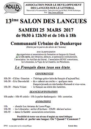13 me salon des langues de dunkerque le 25 mars 2017 for Salon dunkerque