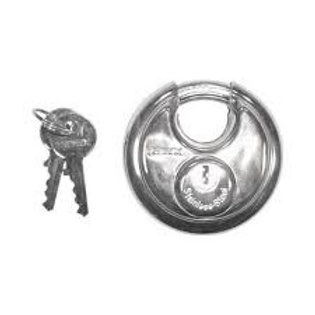 """TRIMAX STAINLESS STEEL 70MM 2 3/4"""" ROUND DISC PADLOCK WITH 10MM SHACKLE"""