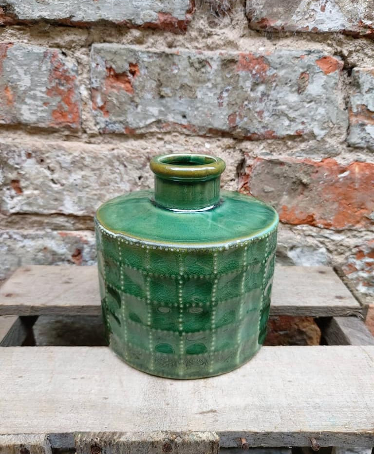 Green ceramic pot