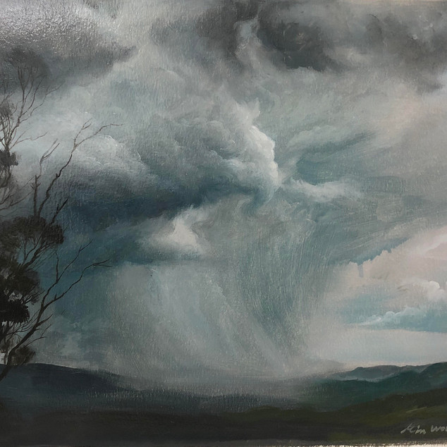 Stormy sky in summer_oil on paper _23x32