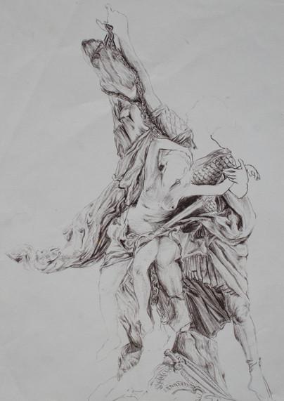 le Persée et Andromède de Puget, le plus baroque des sculpteurs français, offre au dessinateurs l'un des sujets le plus intéressant à étudier de part sa composition