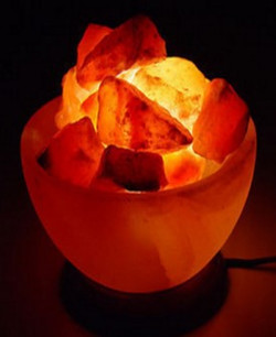 lamp with marble base and salt chunks