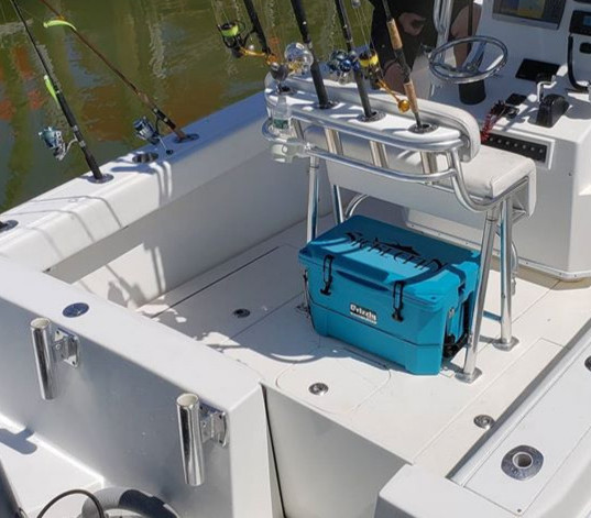 Blue SickleFin Fishing Cooler
