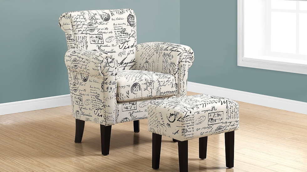 Accent wing chair and ottoman set