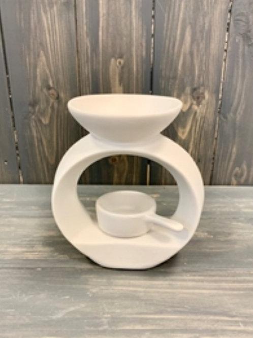 White Ceramic Warmer with Tealight Pan