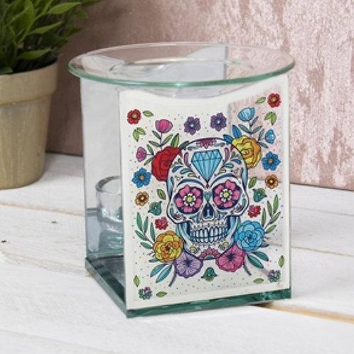 Glass Floral Sugar Skull Warmer