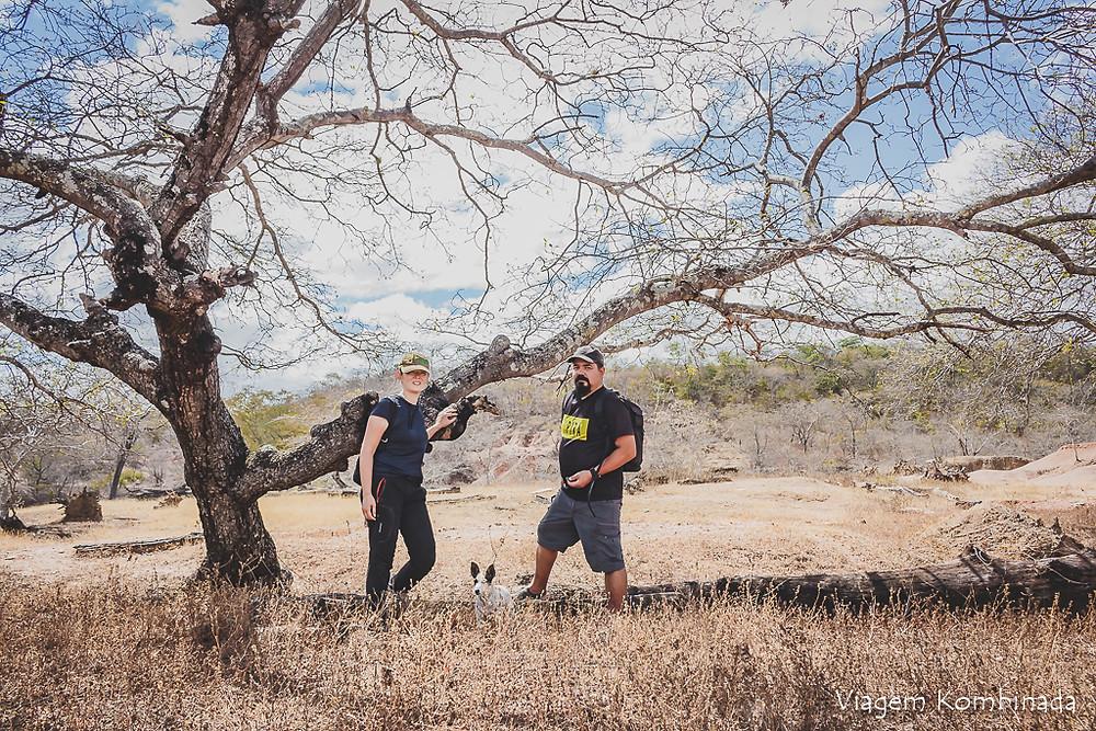 Região de mata seca onde o casal do Viagem Kombinada, Sandra Doyama, Cristiano Cazarotto e a cachorrinha Mel se encontram ao lado de uma grande árvore aparentemente seca.