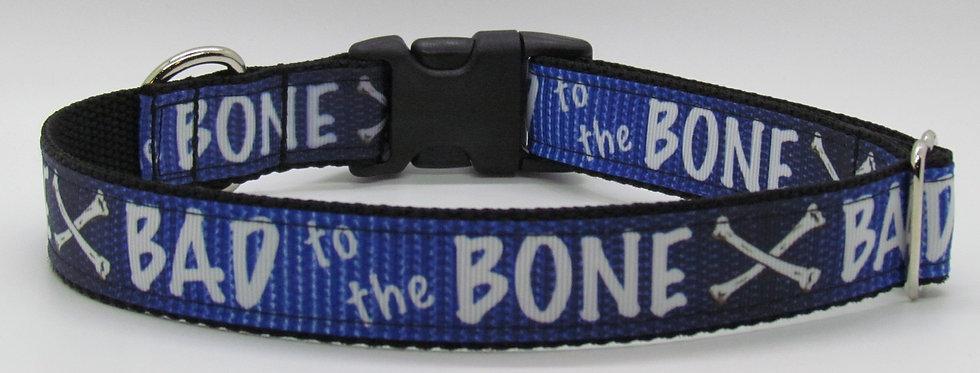 Bad to the Bone (Blue) Dog Collar