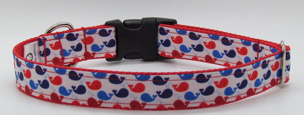 Patriotic Whales Dog Collar