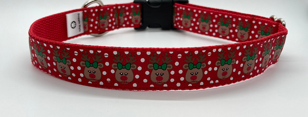 Polka Dot Reindeer Christmas Dog Collar