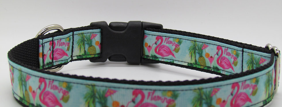 Teal Flamingo Dog Collar