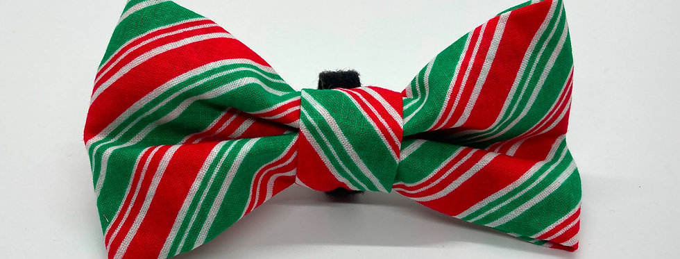 Holiday Candy Cane Stripes Dog Bow Tie