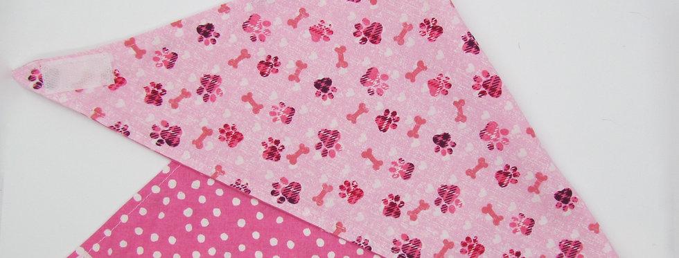 Pink Paw Prints Reversible Dog Bandana