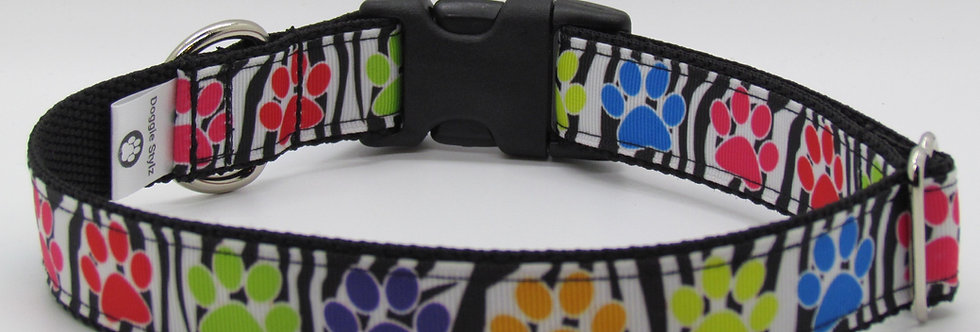 Zebra Paw Print Dog Collar