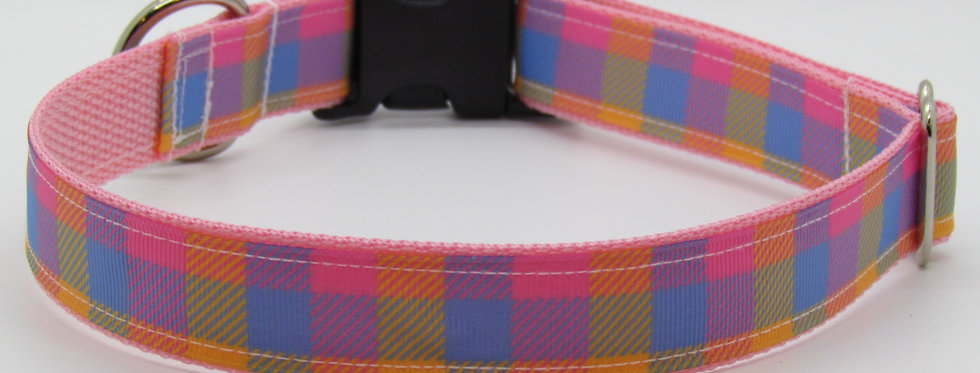 Summer Pastel Plaid Dog Collar