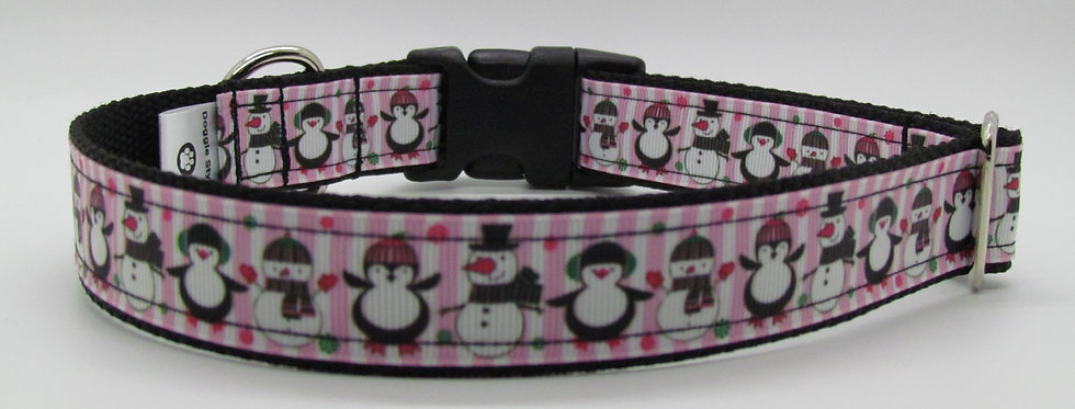 Pink Striped Penguins Christmas Dog Collar