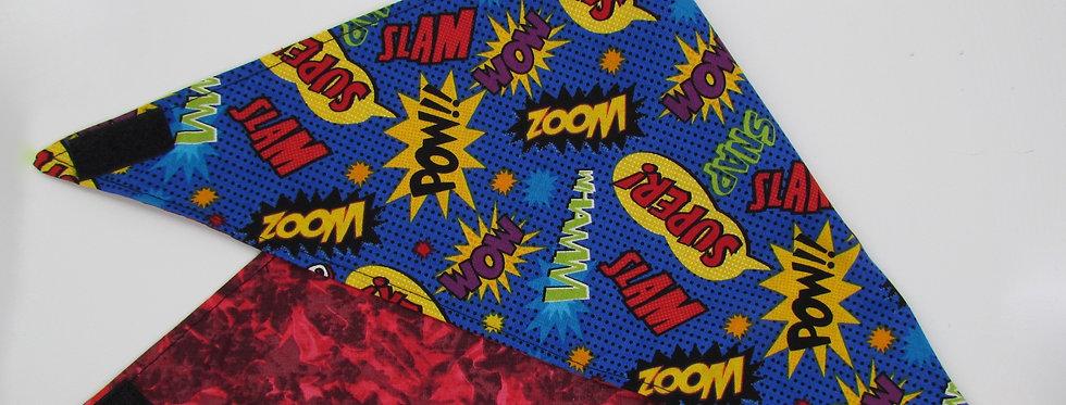 Boom Pow Super Heroes Print Reversible Dog Bandana